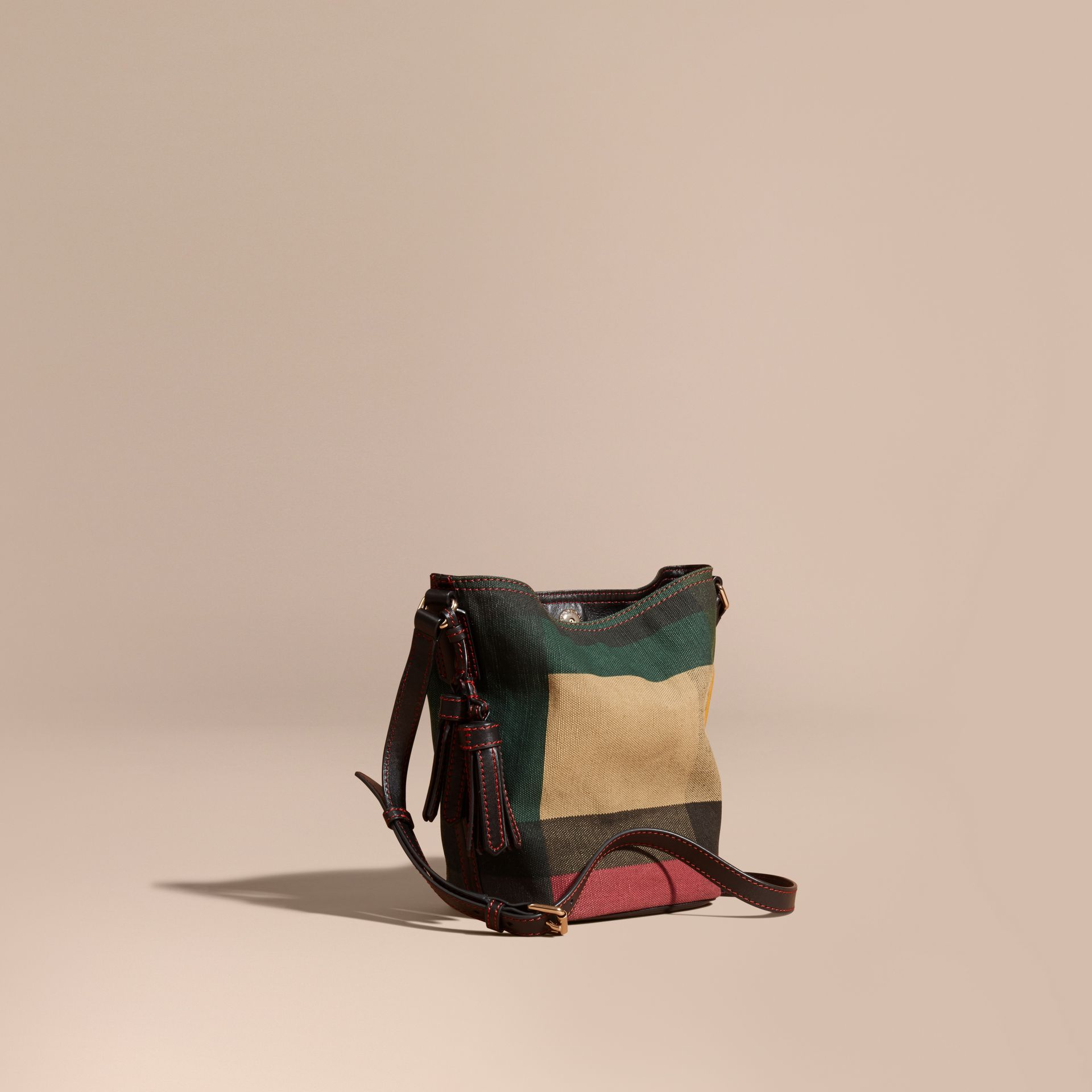 Black The Small Ashby in Printed Canvas Check and Leather - gallery image 1