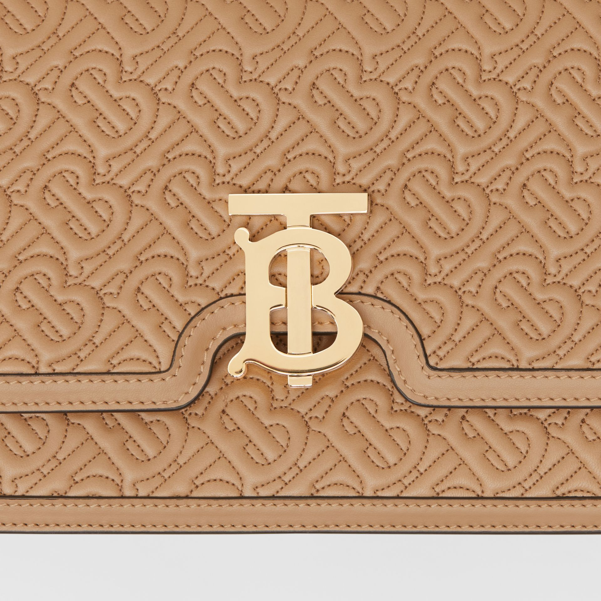 Medium Quilted Monogram Lambskin TB Bag in Honey - Women | Burberry United Kingdom - gallery image 1
