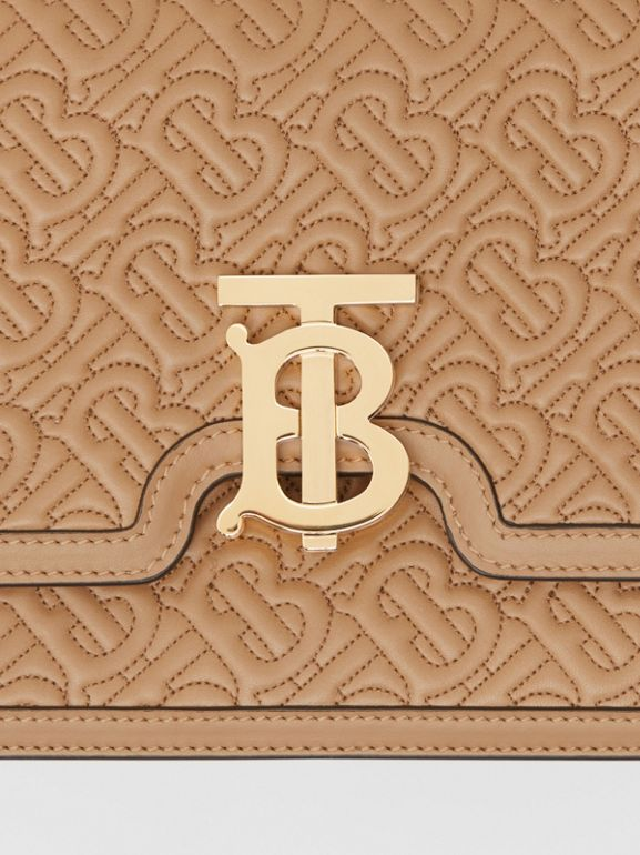 Medium Quilted Monogram Lambskin TB Bag in Honey - Women | Burberry United Kingdom - cell image 1