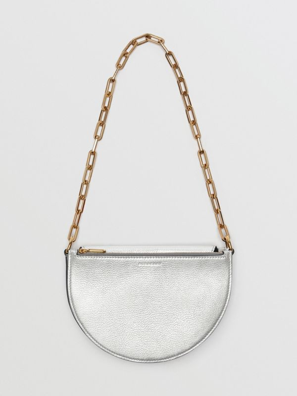 The Small Metallic Leather D Bag in Silver - Women | Burberry - cell image 3
