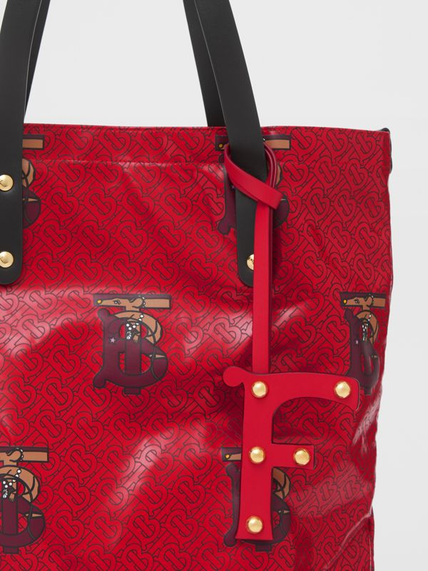 'F' Studded Leather Alphabet Charm in Red/light Gold - Women | Burberry Hong Kong S.A.R - cell image 3