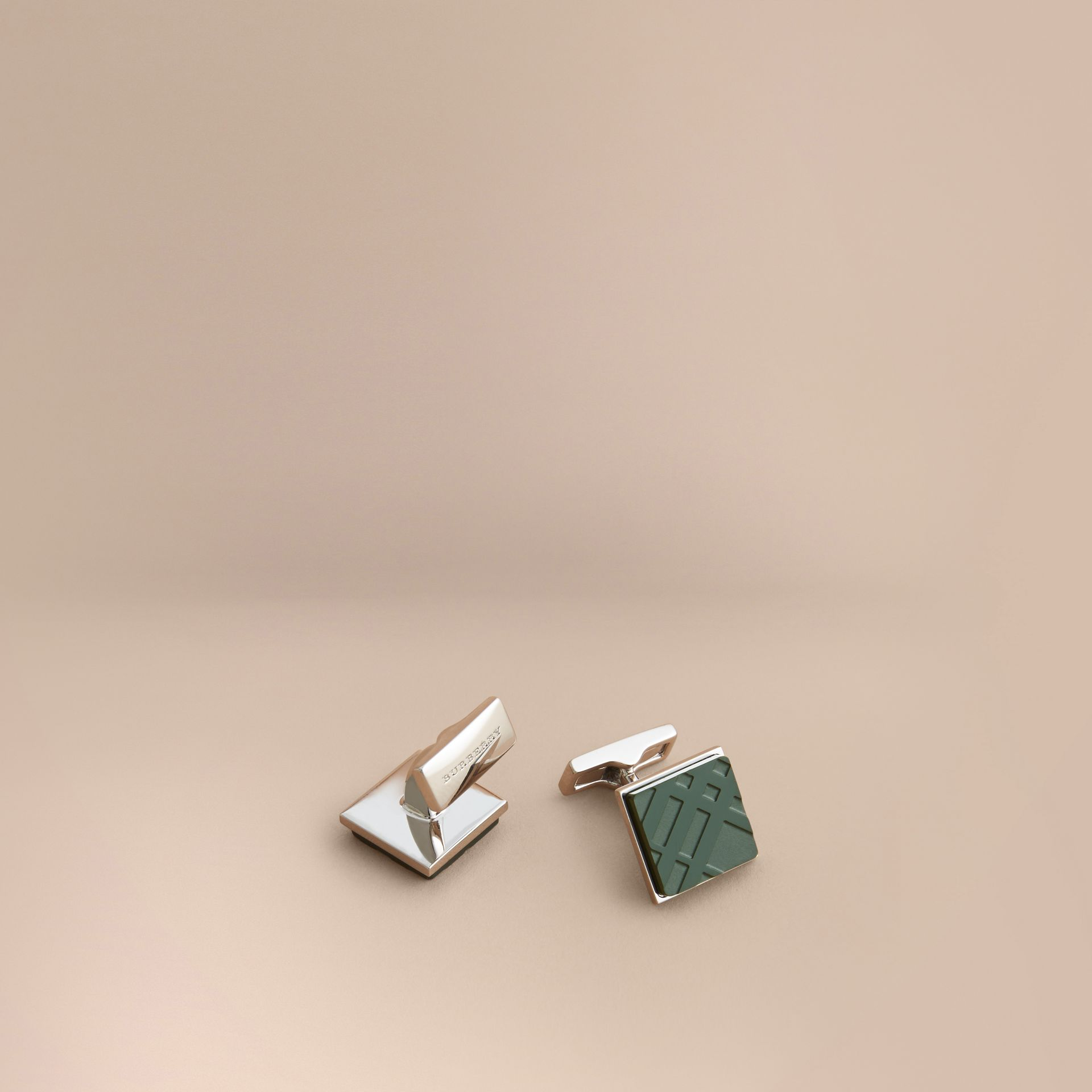 Check-engraved Square Cufflinks Dark Teal - gallery image 1