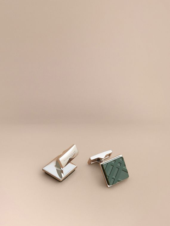 Check-engraved Square Cufflinks in Dark Teal - Men | Burberry
