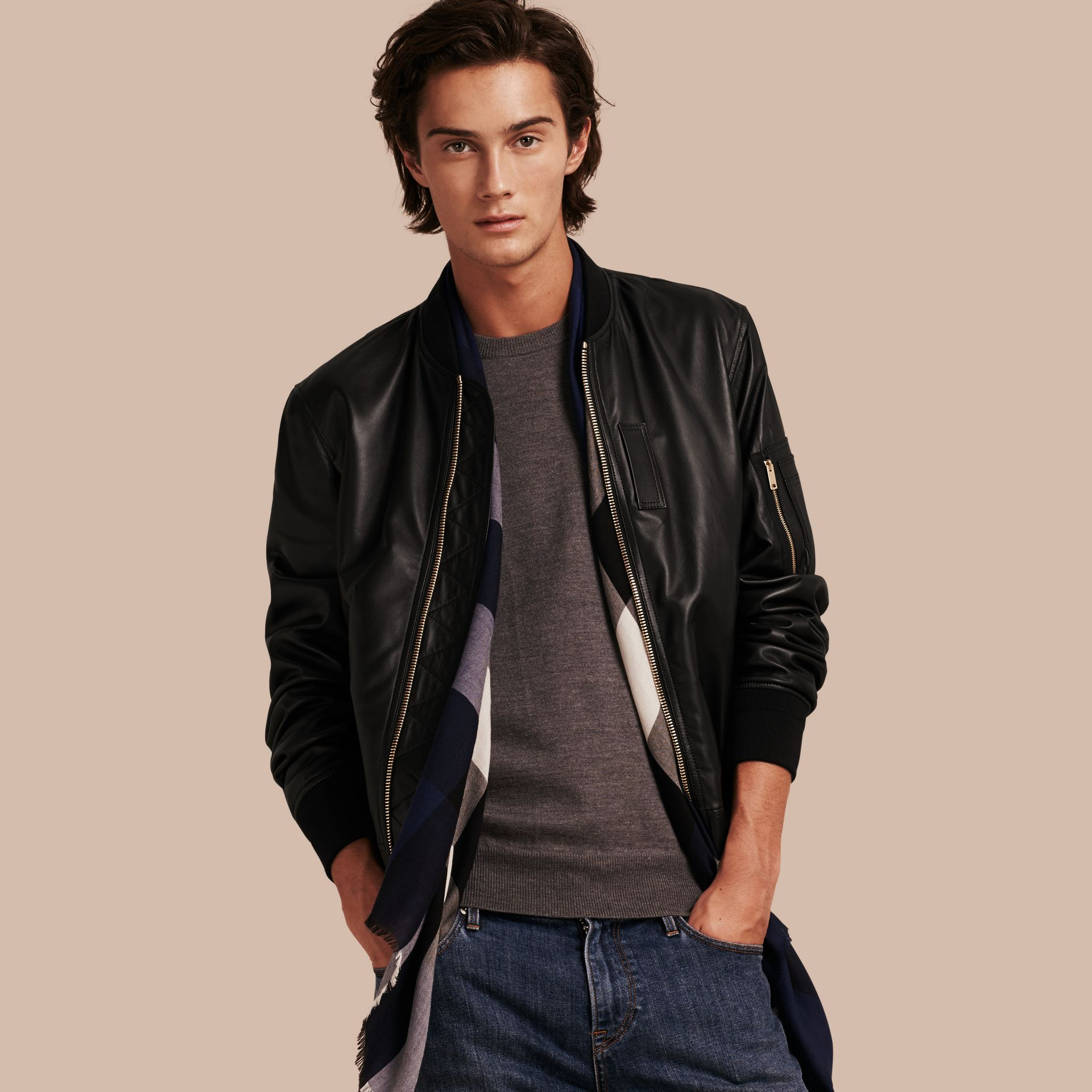 Lightweight Lambskin Bomber Jacket in Black - gallery image 1
