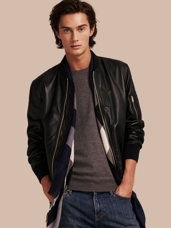 Lightweight Lambskin Bomber Jacket Black