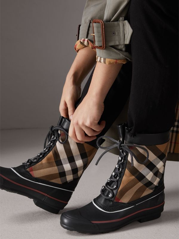 Lace-up House Check and Rubber Rain Boots in Classic Check/black - Women | Burberry - cell image 3