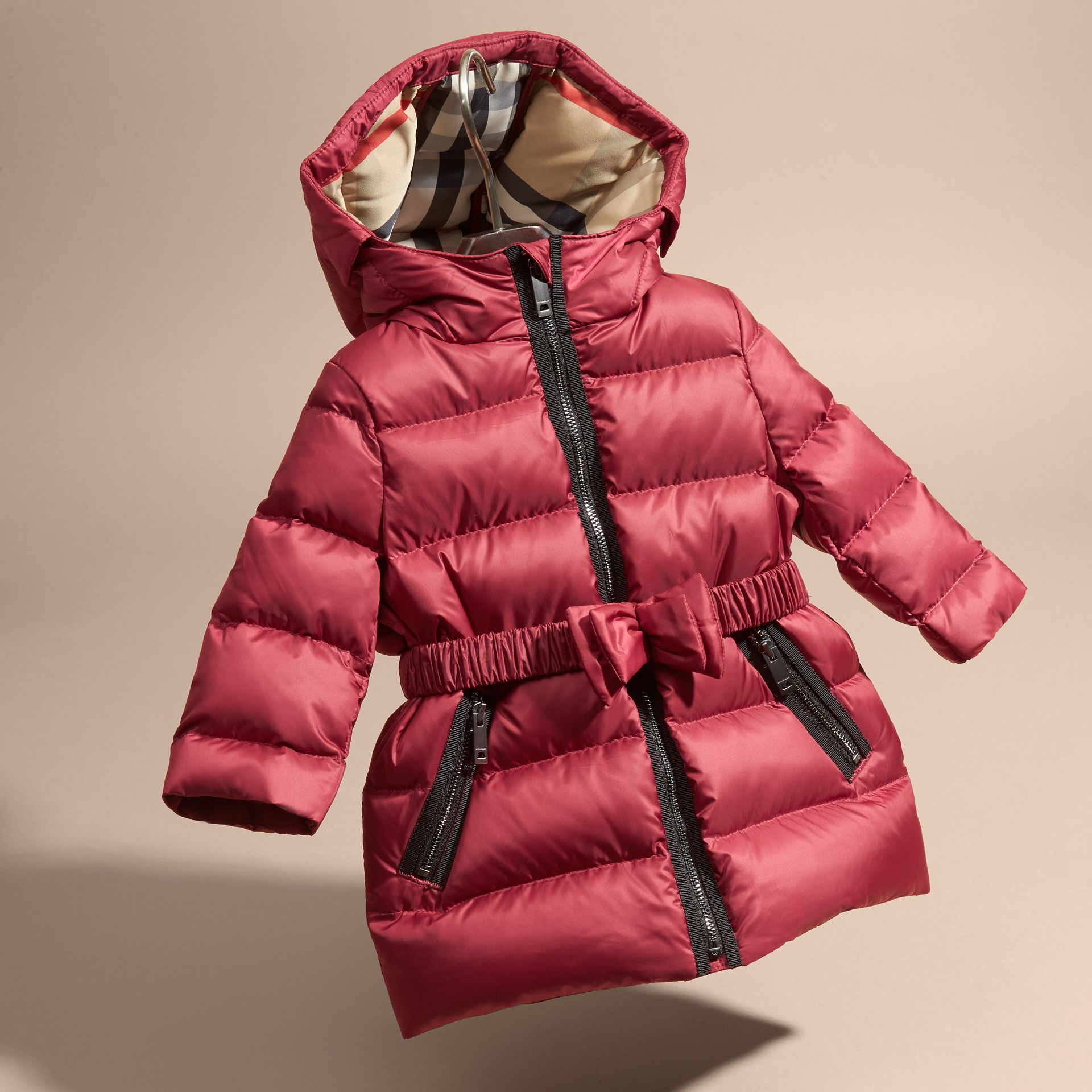Dark plum pink Down-filled Hooded Coat with Bow Detail Dark Plum Pink - gallery image 3
