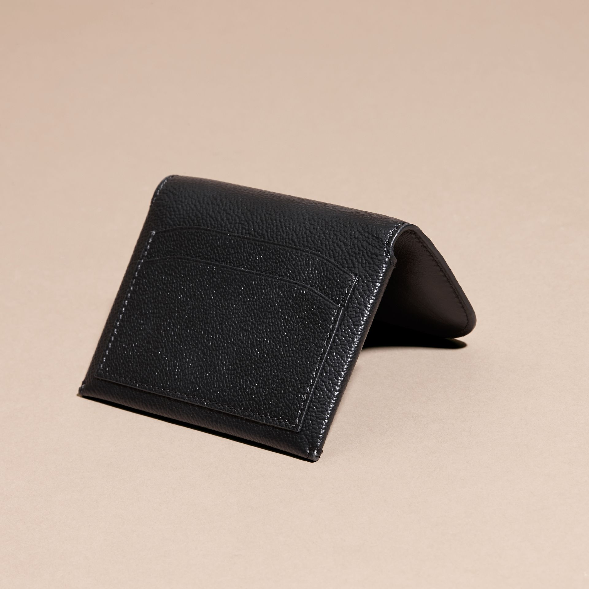 Leather Coin Case with Removable Card Compartment in Black - Women | Burberry - gallery image 4