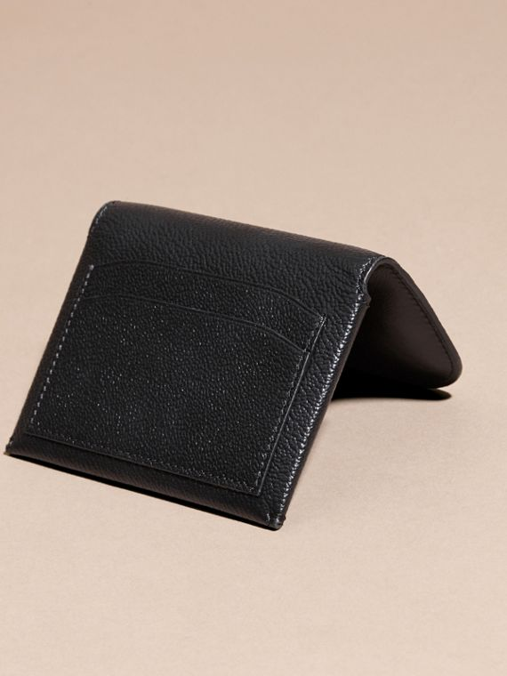 Leather Coin Case with Removable Card Compartment in Black - Women | Burberry - cell image 3