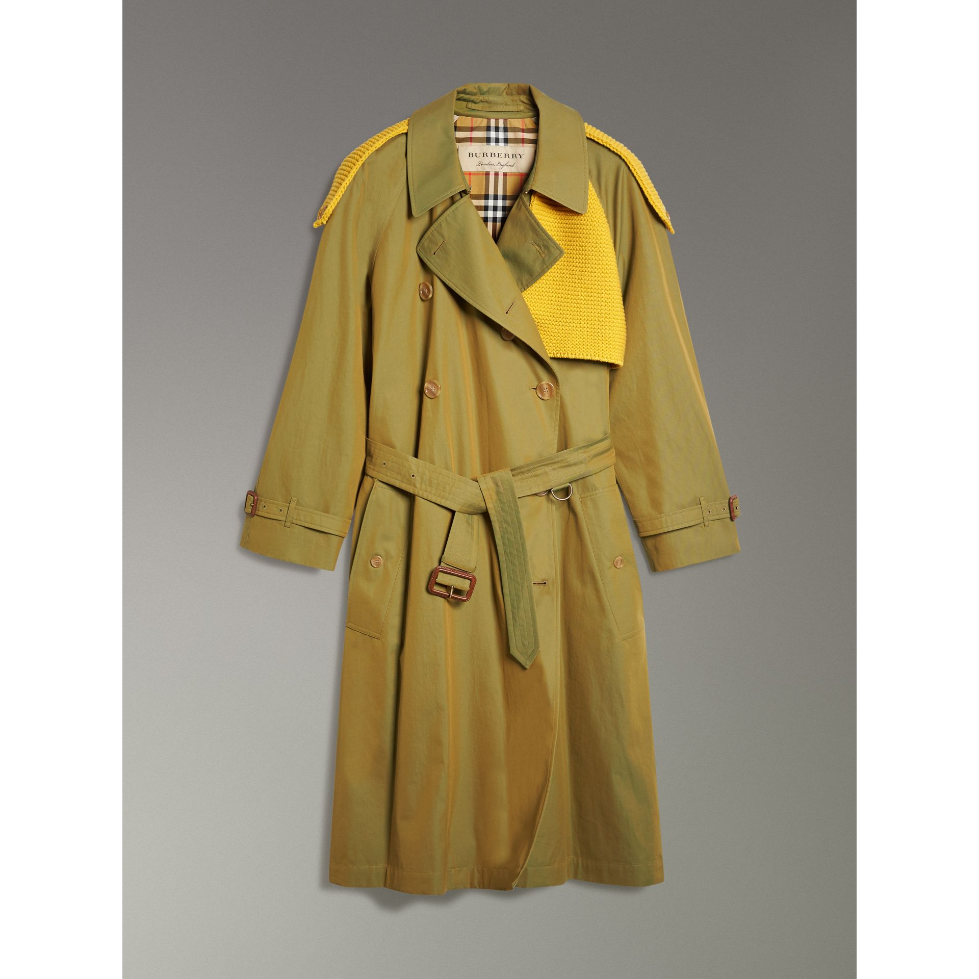 Knit-detail Tropical Gabardine Trench Coat in Green Ochre - Women | Burberry - gallery image 3