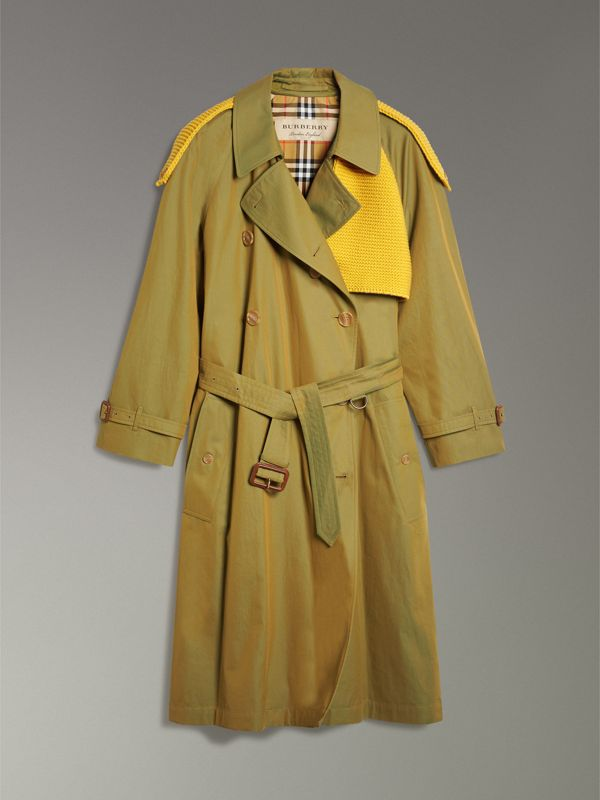 Knit-detail Tropical Gabardine Trench Coat in Green Ochre - Women | Burberry - cell image 3