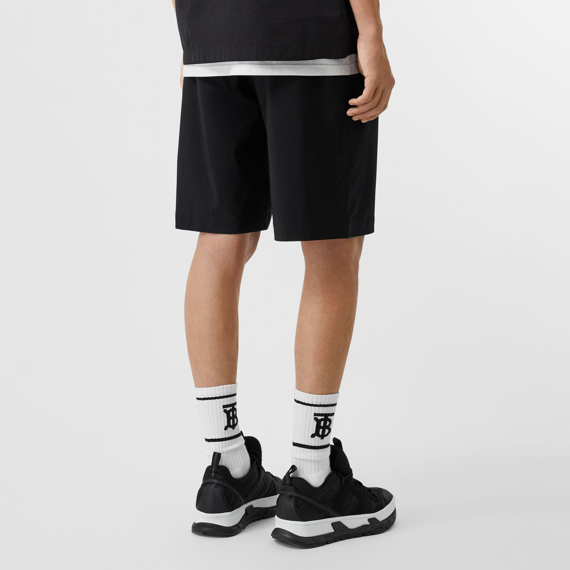 Logo Print Stretch Nylon Shorts in Black - Men | Burberry Canada - gallery image 2