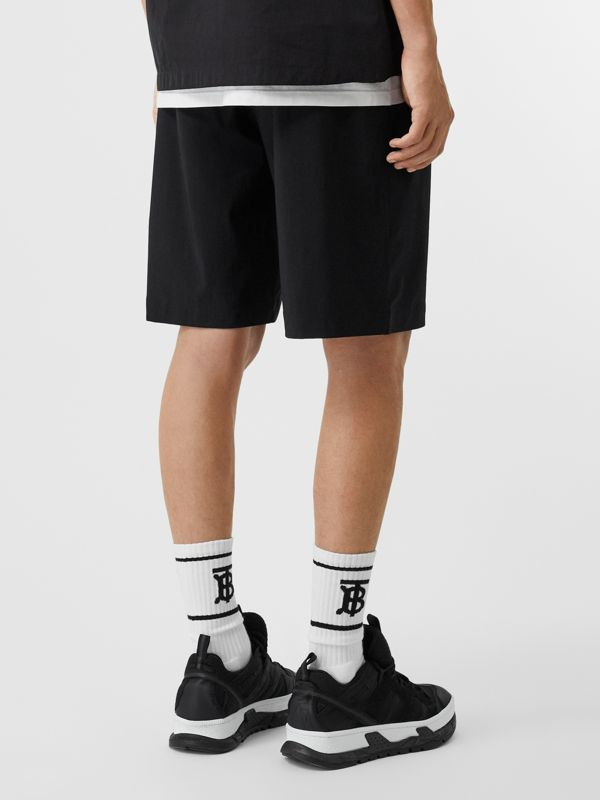 Logo Print Stretch Nylon Shorts in Black - Men | Burberry - cell image 2