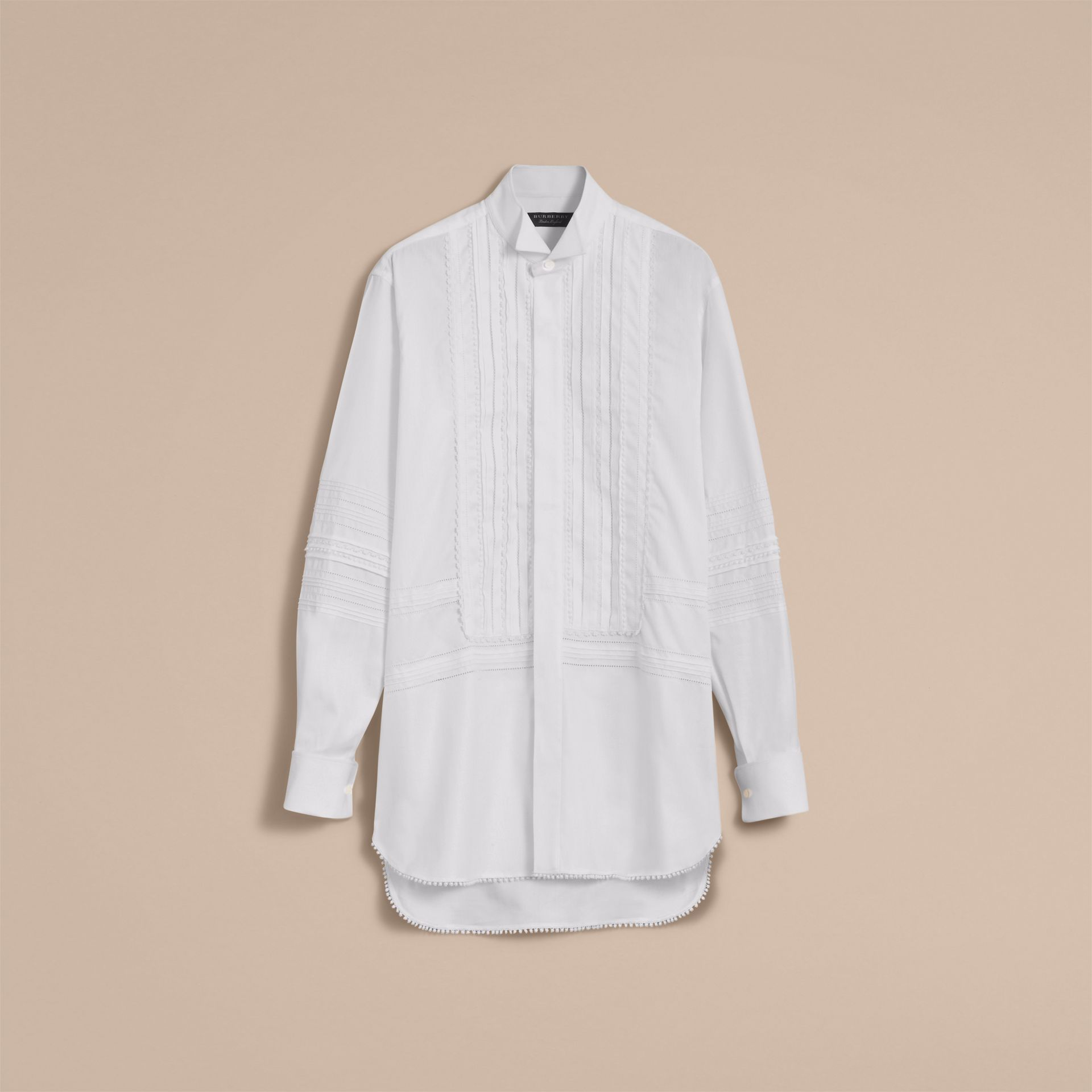 Cotton Evening Shirt with Pintucks and Macramé Trim in White - Men | Burberry Australia - gallery image 4