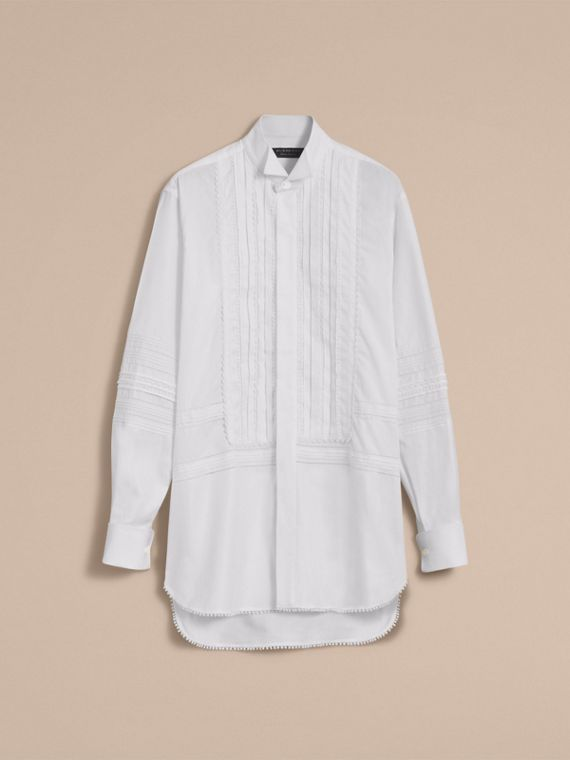 Cotton Evening Shirt with Pintucks and Macramé Trim - cell image 3