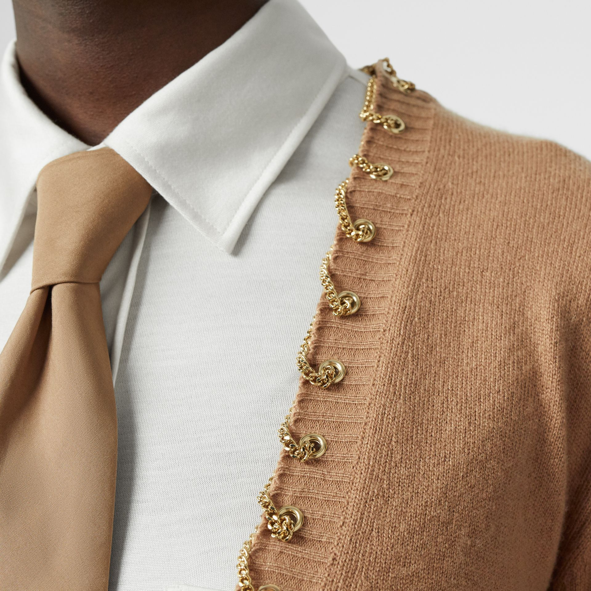 Chain Detail Cashmere Sweater in Camel - Women | Burberry - gallery image 4