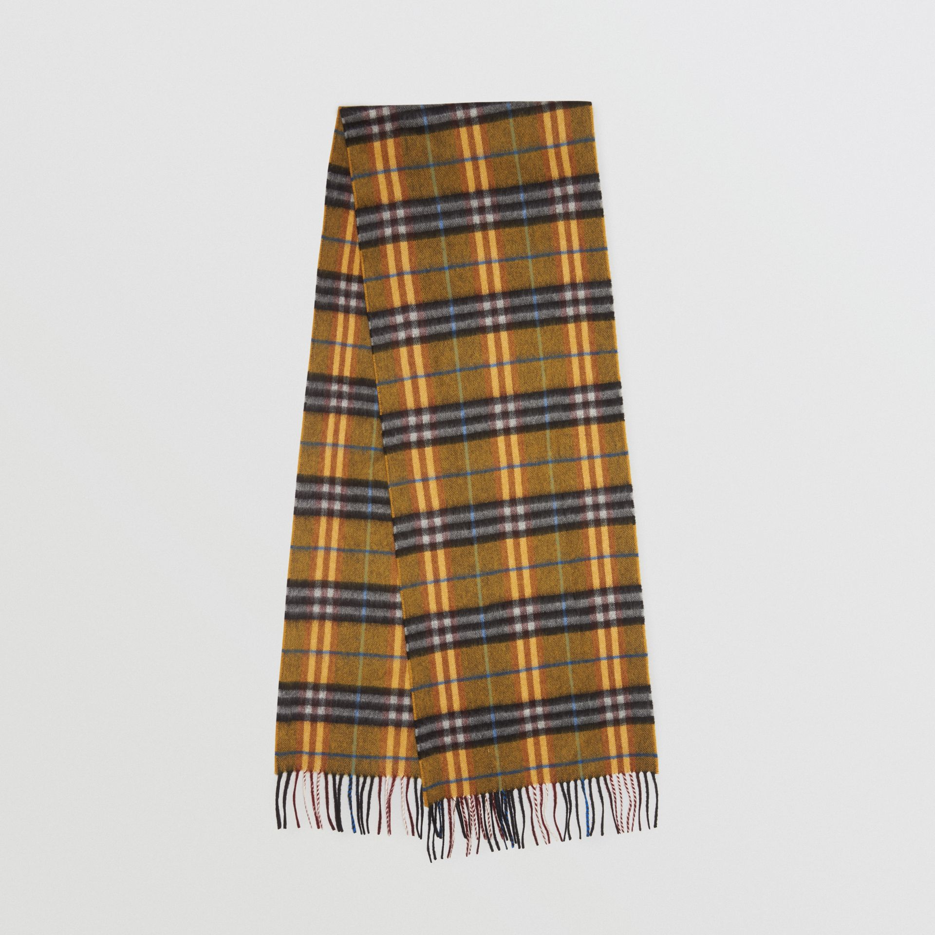 Check Cashmere Scarf in Amber Yellow | Burberry United Kingdom - gallery image 0