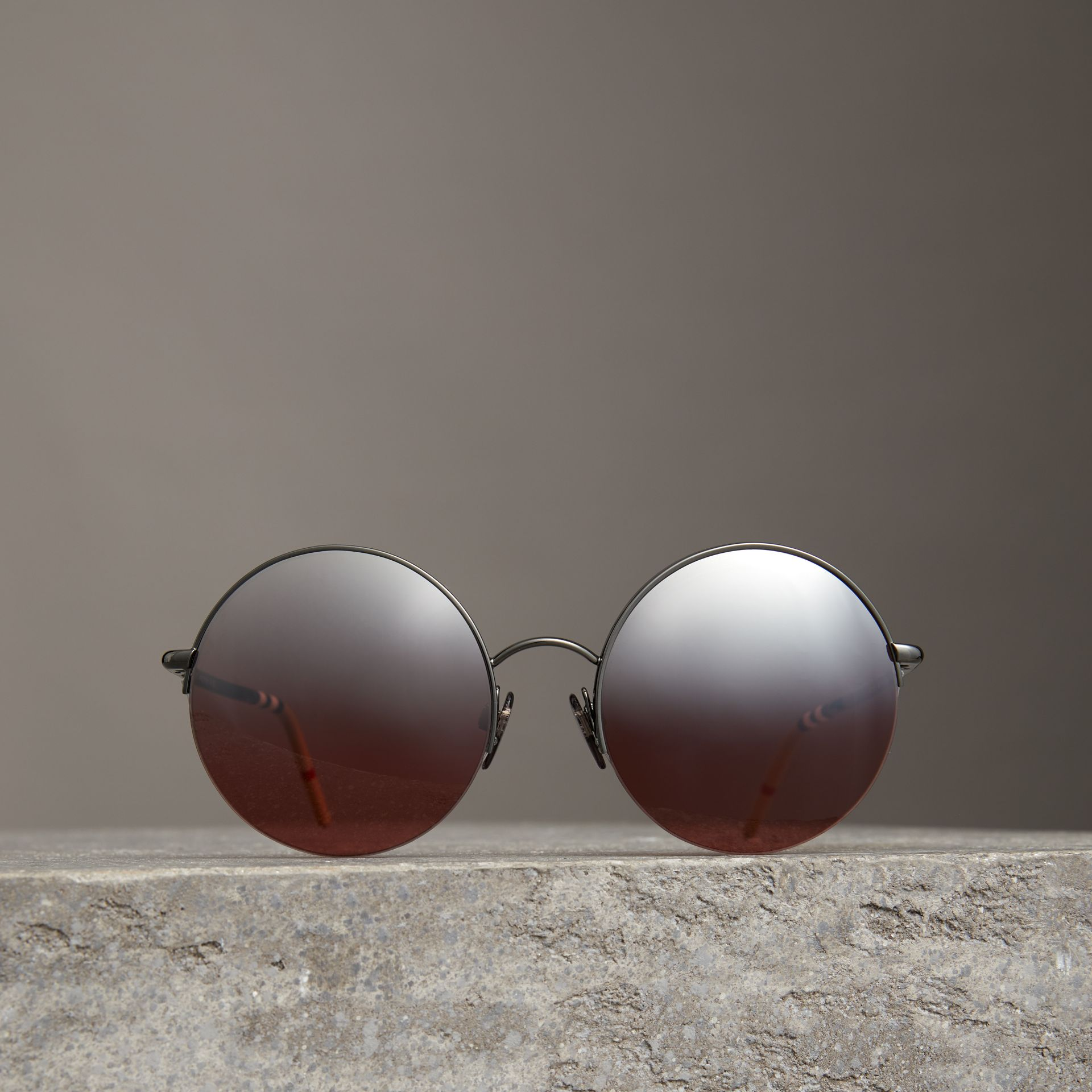 Mirrored Round Frame Sunglasses in Burgundy - Women | Burberry Canada - gallery image 2