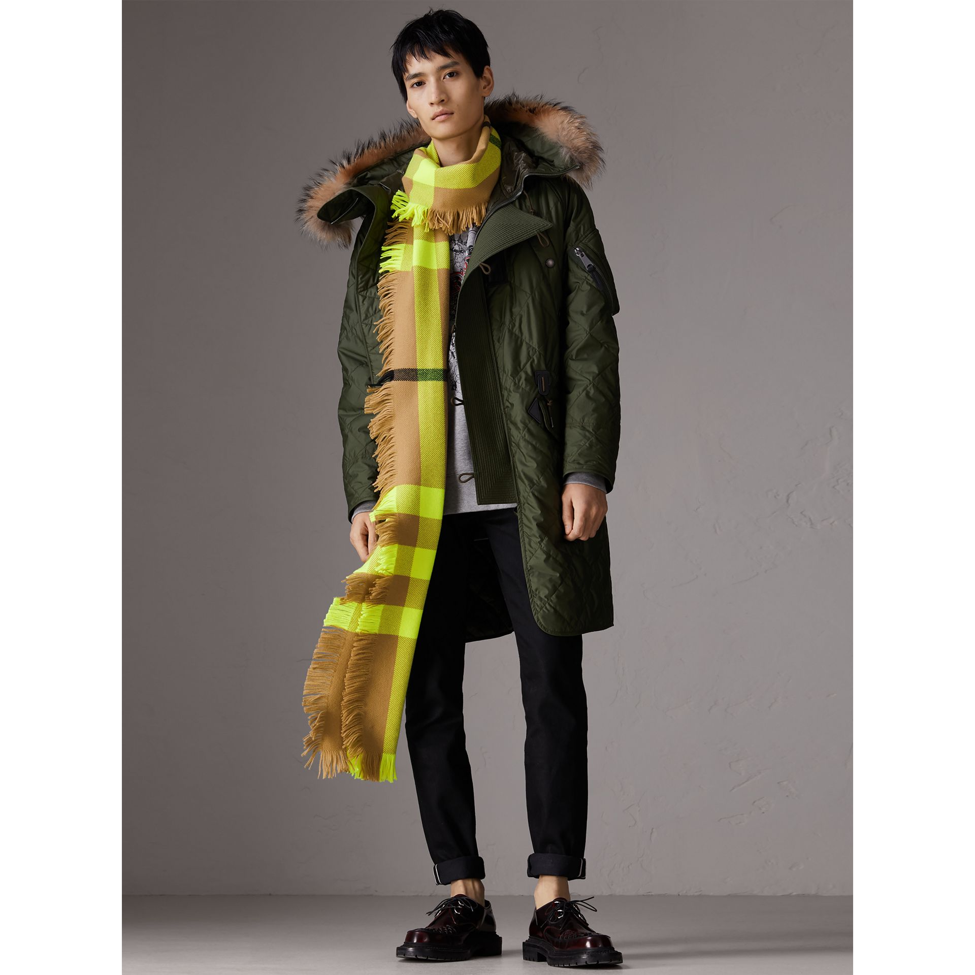 Fringed Check Wool Scarf in Neon Yellow | Burberry Singapore - gallery image 3