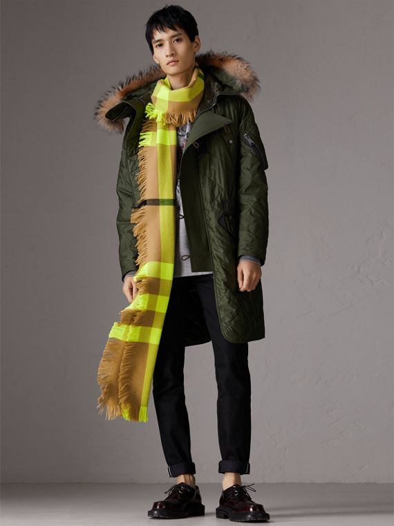 Fringed Check Wool Scarf in Neon Yellow