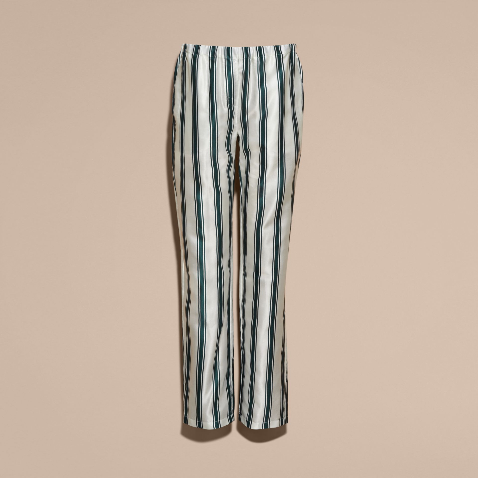Dark forest green Panama Stripe Cotton Silk Pyjama-style Trousers - gallery image 4