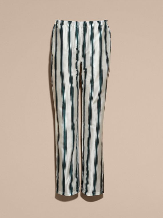 Dark forest green Panama Stripe Cotton Silk Pyjama-style Trousers - cell image 3