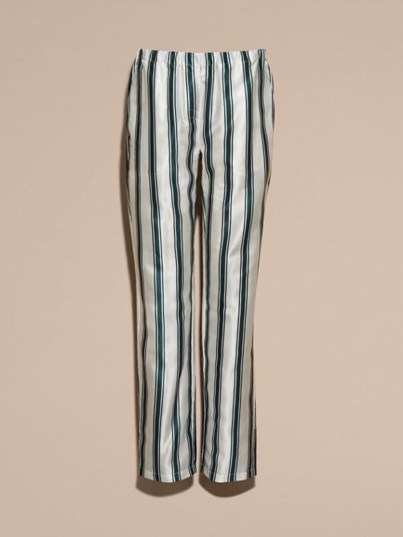Hose im Pyjamastil aus Baumwollseide mit Panamastreifen - cell image 3