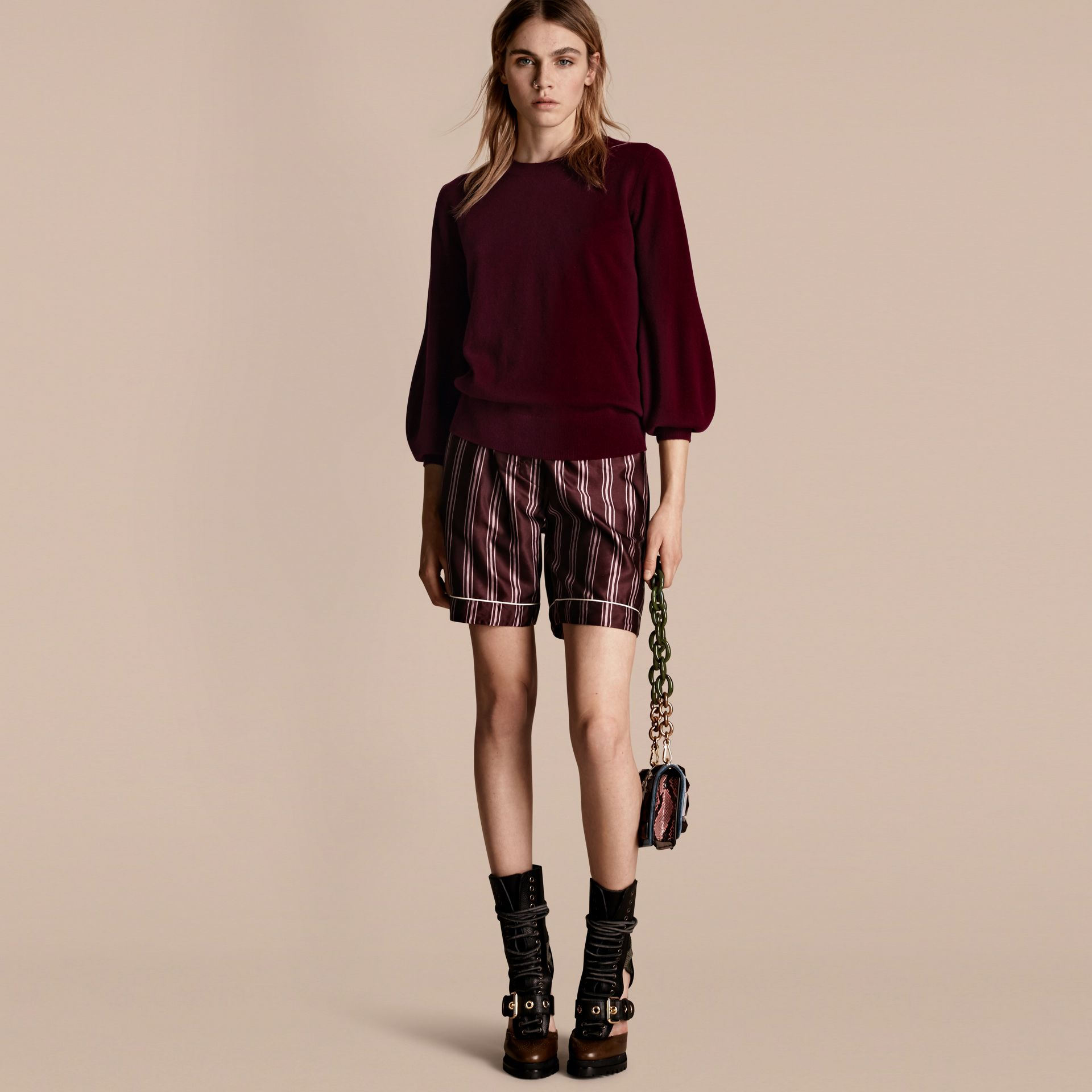 Puff-sleeved Cashmere Sweater in Burgundy - gallery image 1
