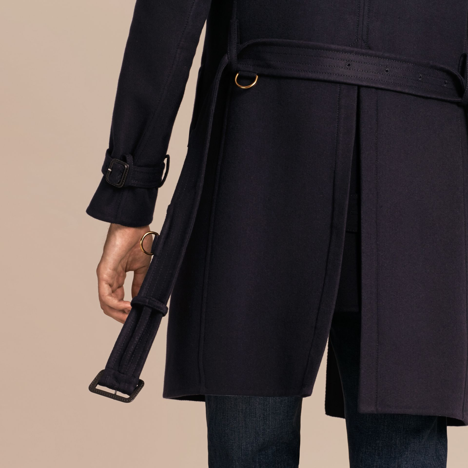 Navy Cashmere Wool Trench Coat - gallery image 6