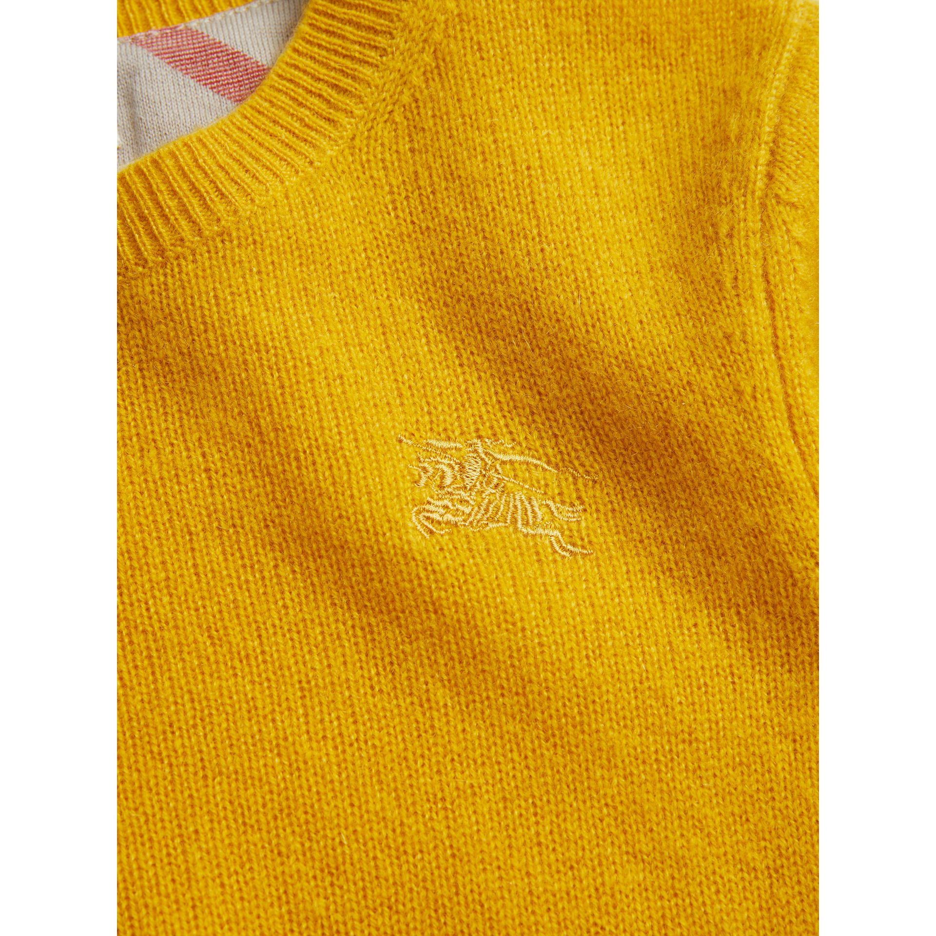 Check Elbow Patch Cashmere Sweater in Amber Yellow - Boy | Burberry - gallery image 2