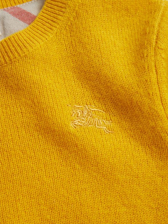 Check Elbow Patch Cashmere Sweater in Amber Yellow | Burberry - cell image 1