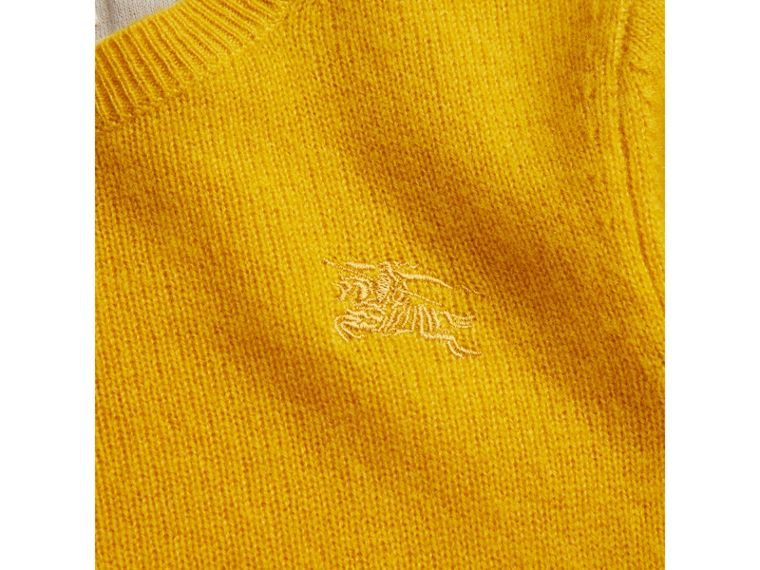 Check Elbow Patch Cashmere Sweater in Amber Yellow - Boy | Burberry United Kingdom - cell image 1