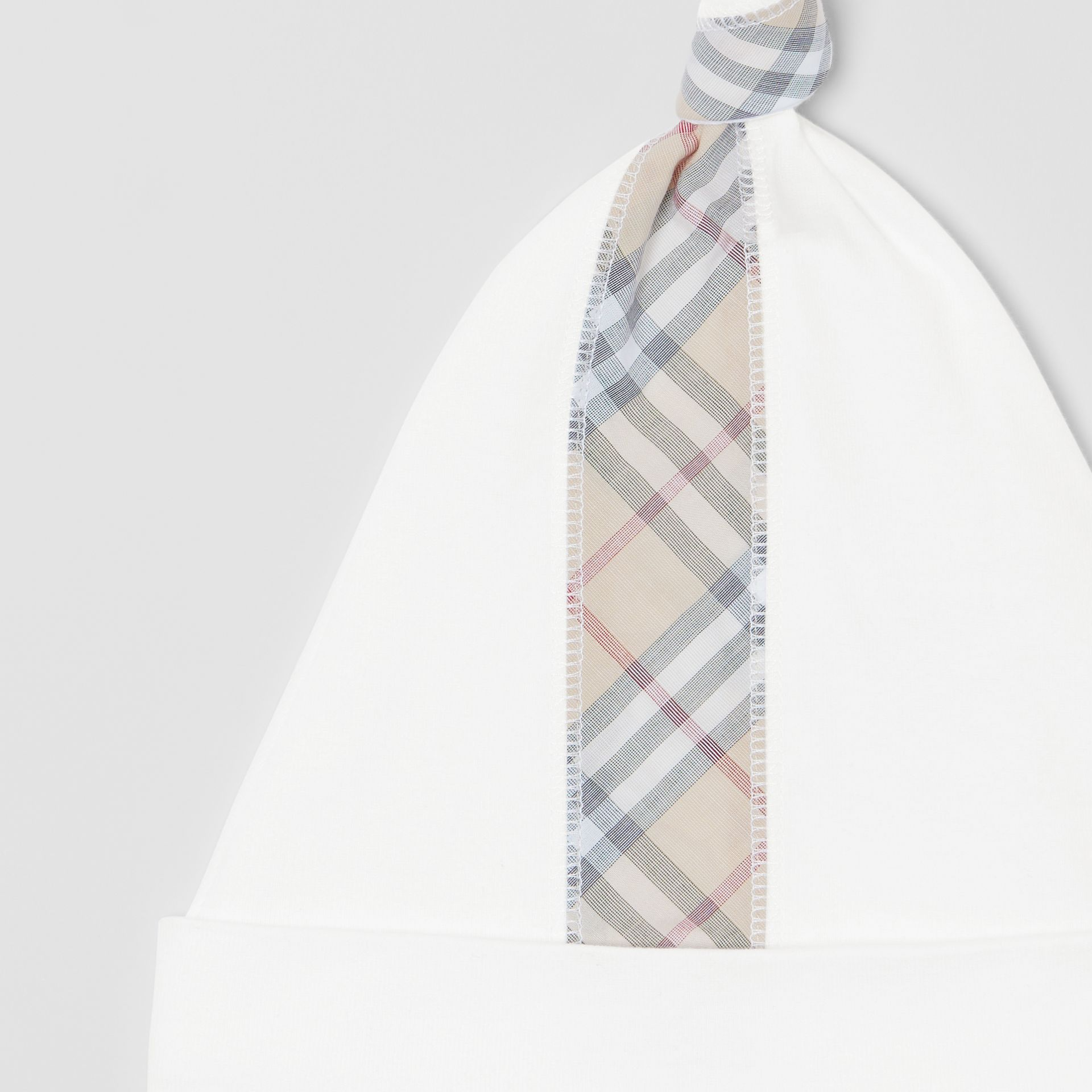 Check Cotton Three-piece Baby Gift Set in White - Children | Burberry United Kingdom - gallery image 11