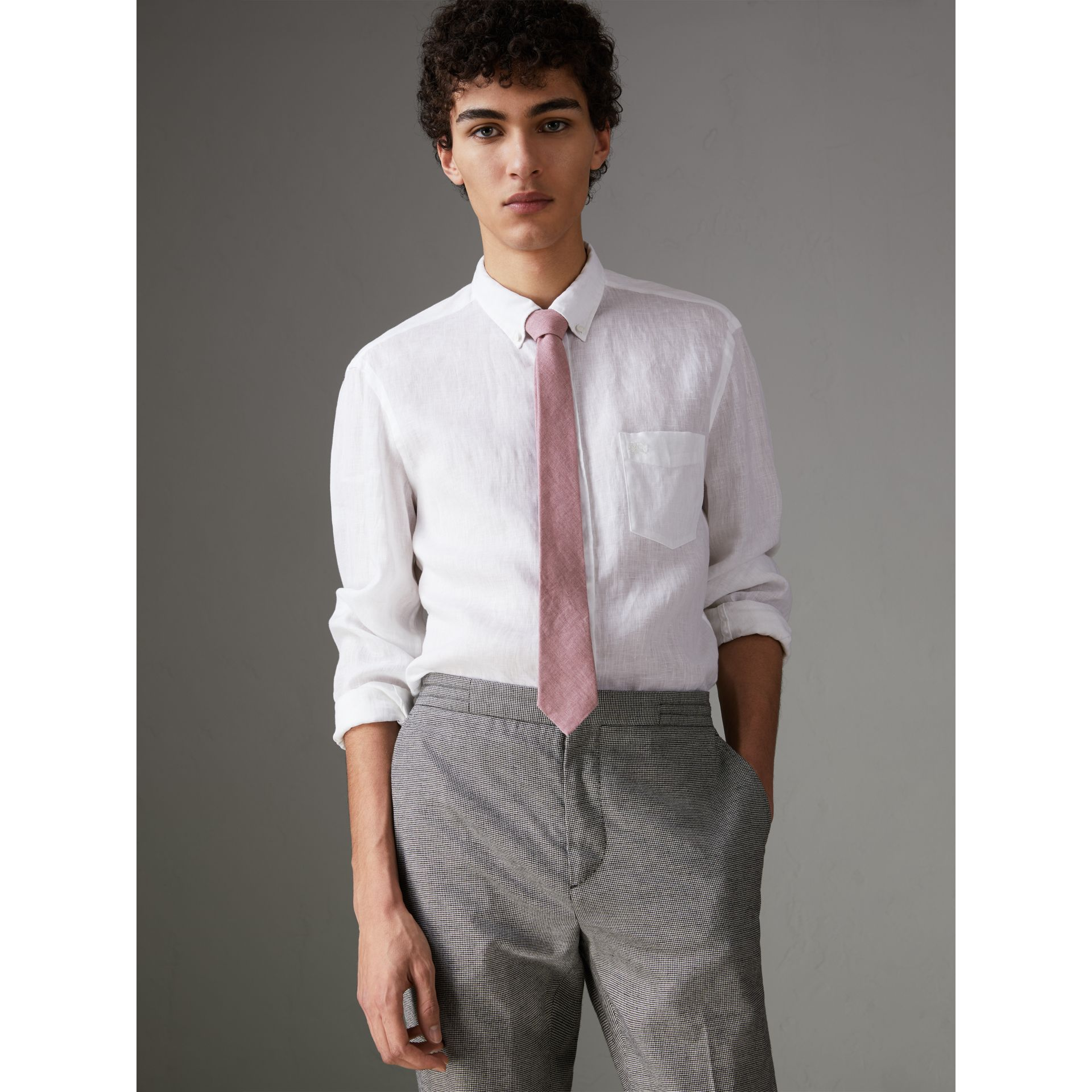 Slim Cut Linen Tie in Pink Heather - Men | Burberry - gallery image 3