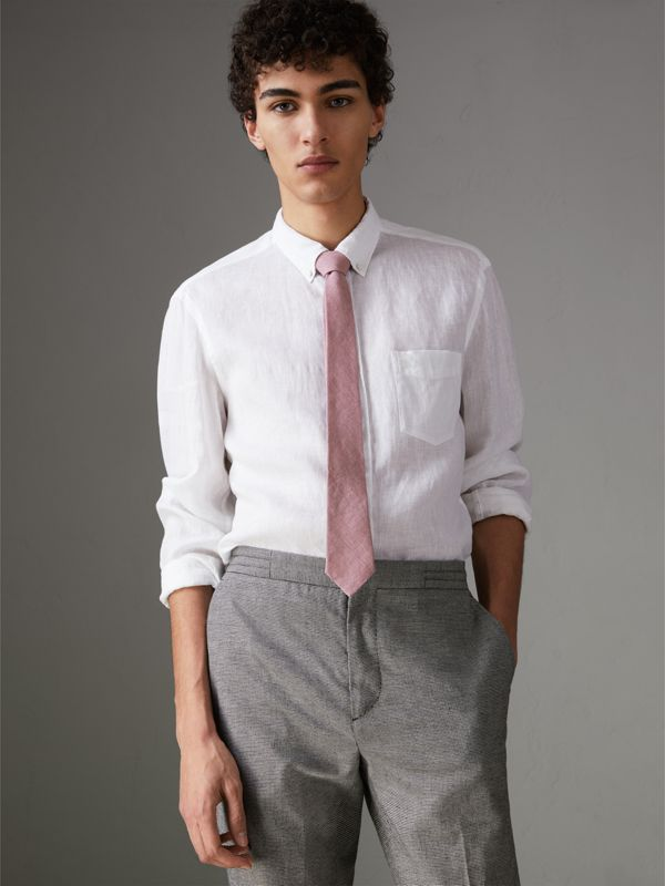 Slim Cut Linen Tie in Pink Heather - Men | Burberry - cell image 3