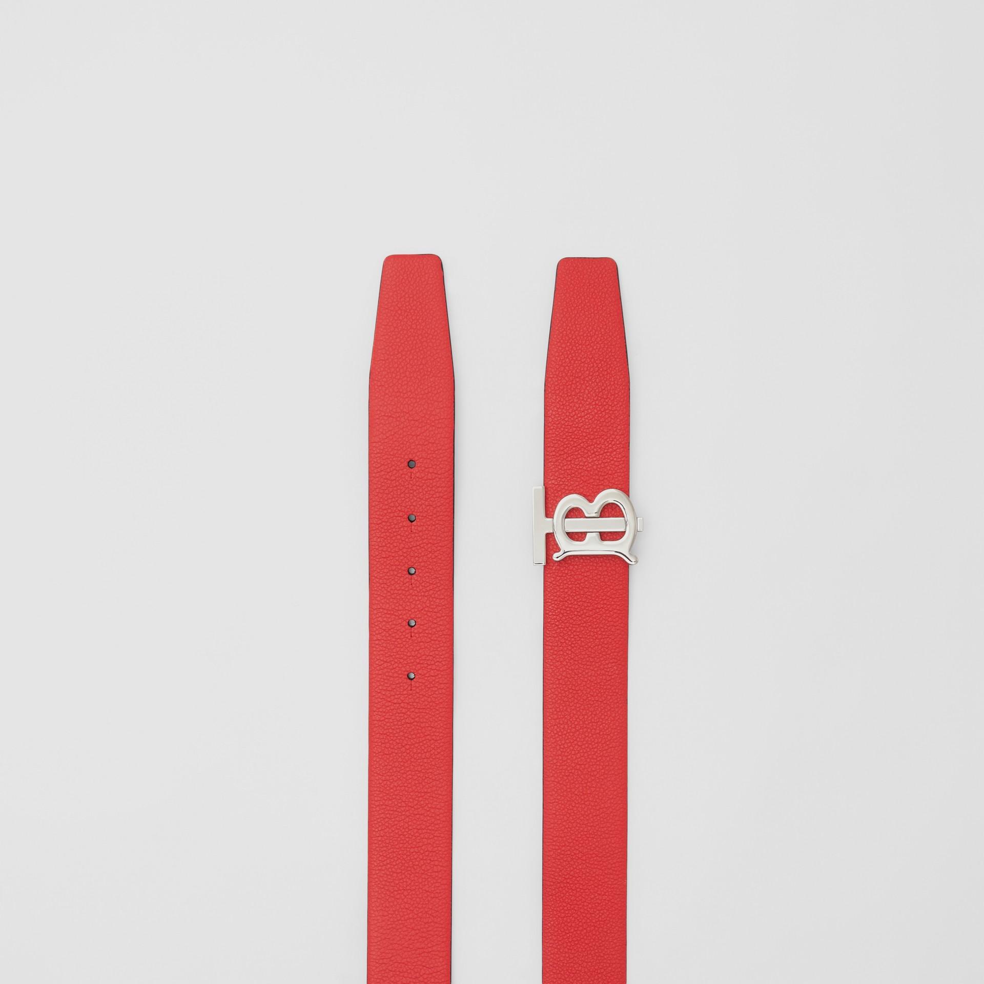 Reversible Monogram Motif Grainy Leather Belt in Military Red/black - Men | Burberry United Kingdom - gallery image 6