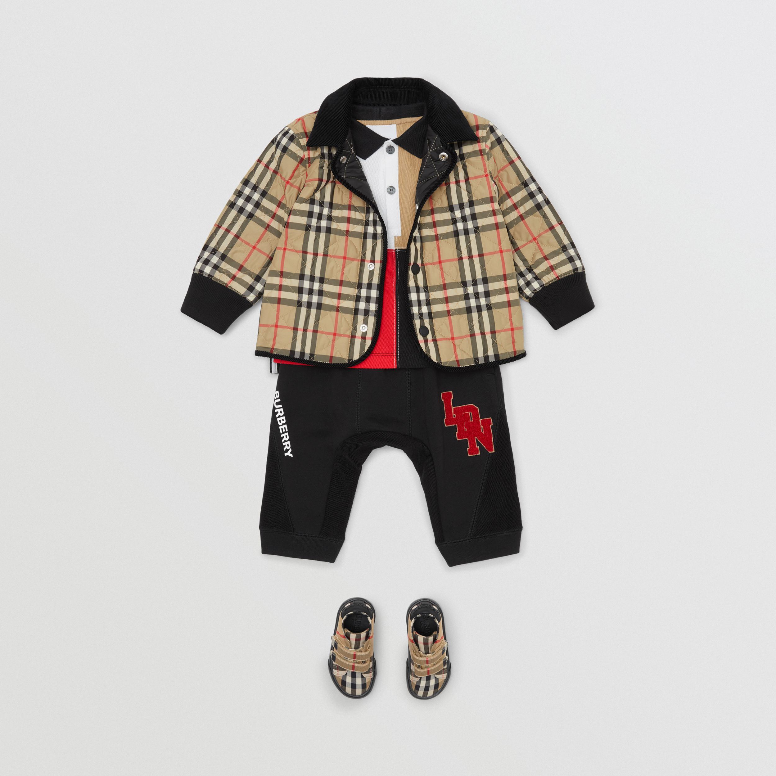 Corduroy Trim Vintage Check Diamond Quilted Jacket in Archive Beige - Children | Burberry - 4
