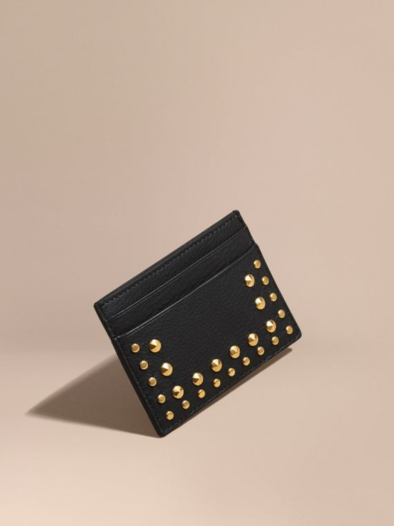 Riveted Grainy Leather Card Case