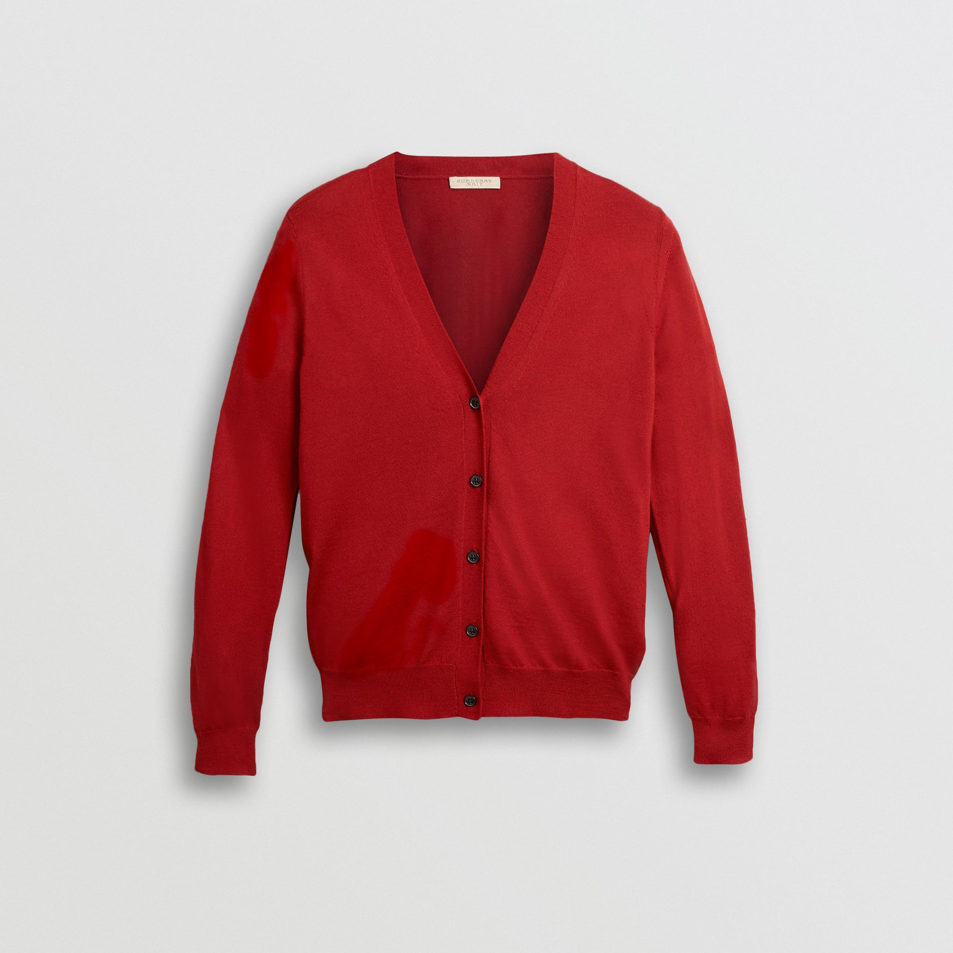 Check Detail Merino Wool Cardigan in Parade Red - Women | Burberry United Kingdom - gallery image 3