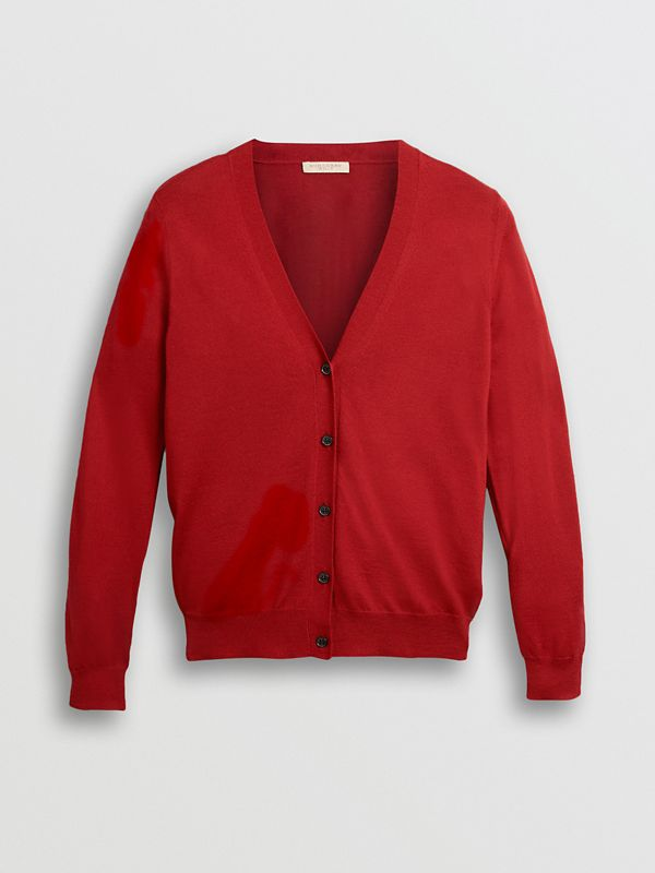 Check Detail Merino Wool Cardigan in Parade Red - Women | Burberry United Kingdom - cell image 3