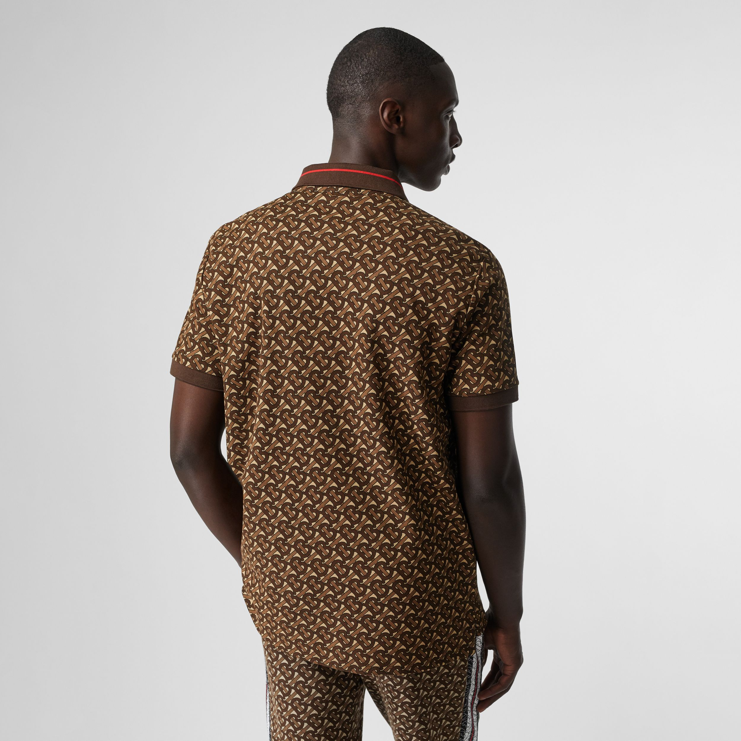 Monogram Stripe Print Cotton Piqué Polo Shirt in Bridle Brown - Men | Burberry - 3
