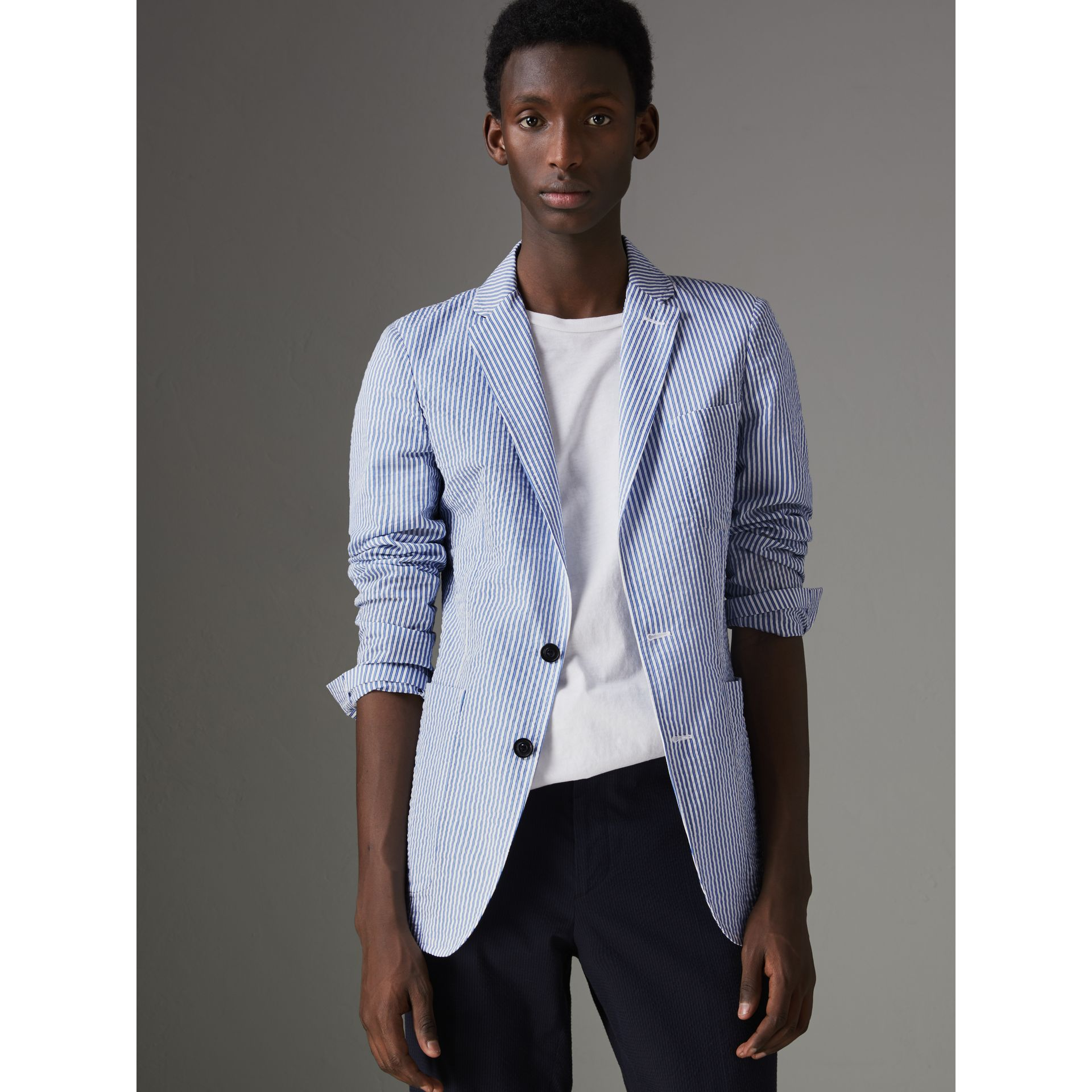 Slim Fit Cotton Blend Seersucker Tailored Jacket in Navy - Men | Burberry Australia - gallery image 6
