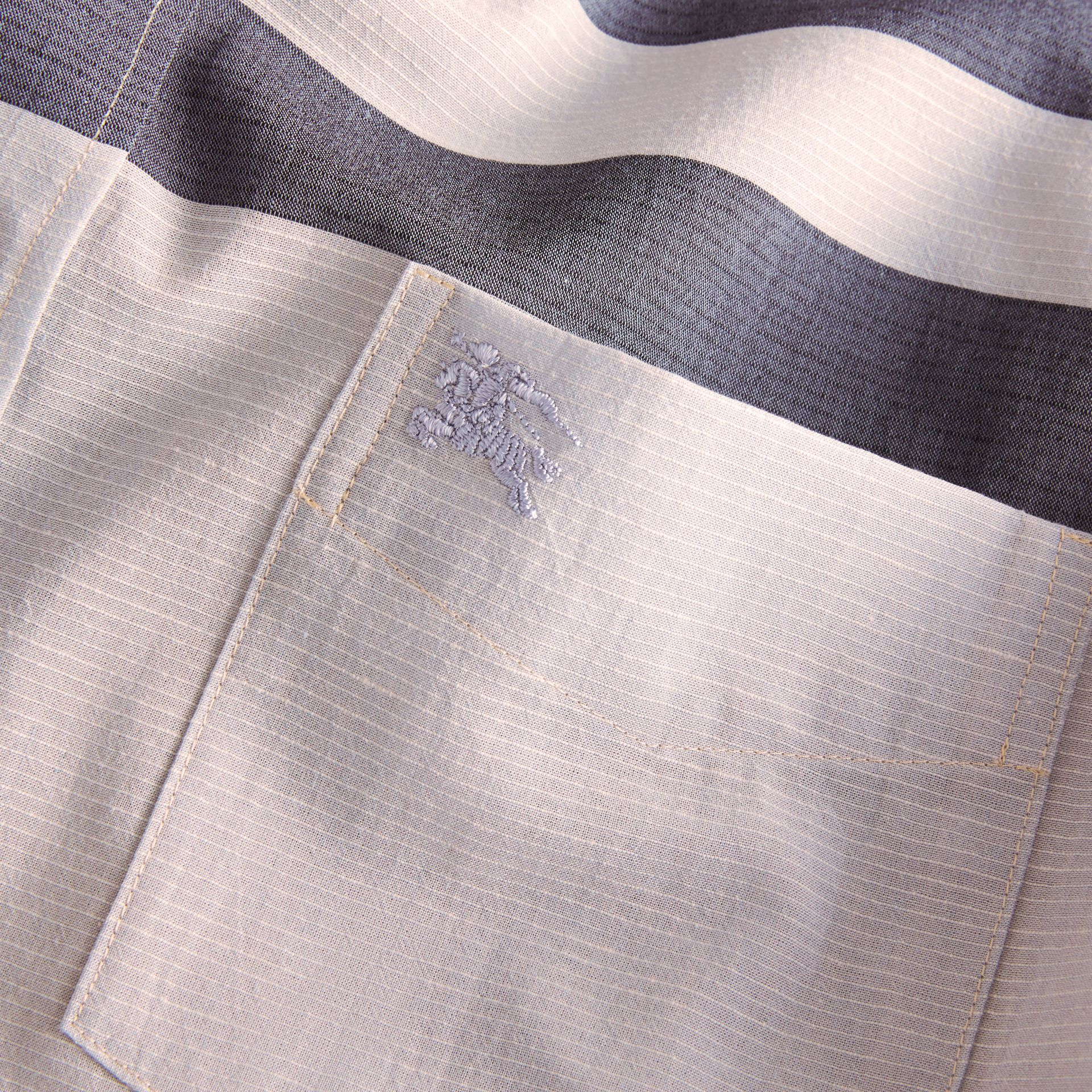Check Cotton Poplin and Linen Shirt Pale Cornflower Blue - gallery image 2