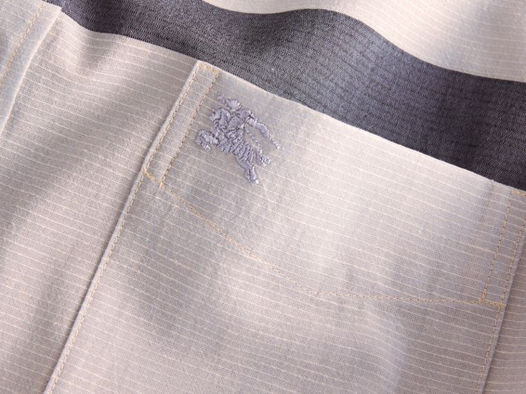 Check Cotton Poplin and Linen Shirt Pale Cornflower Blue - cell image 1