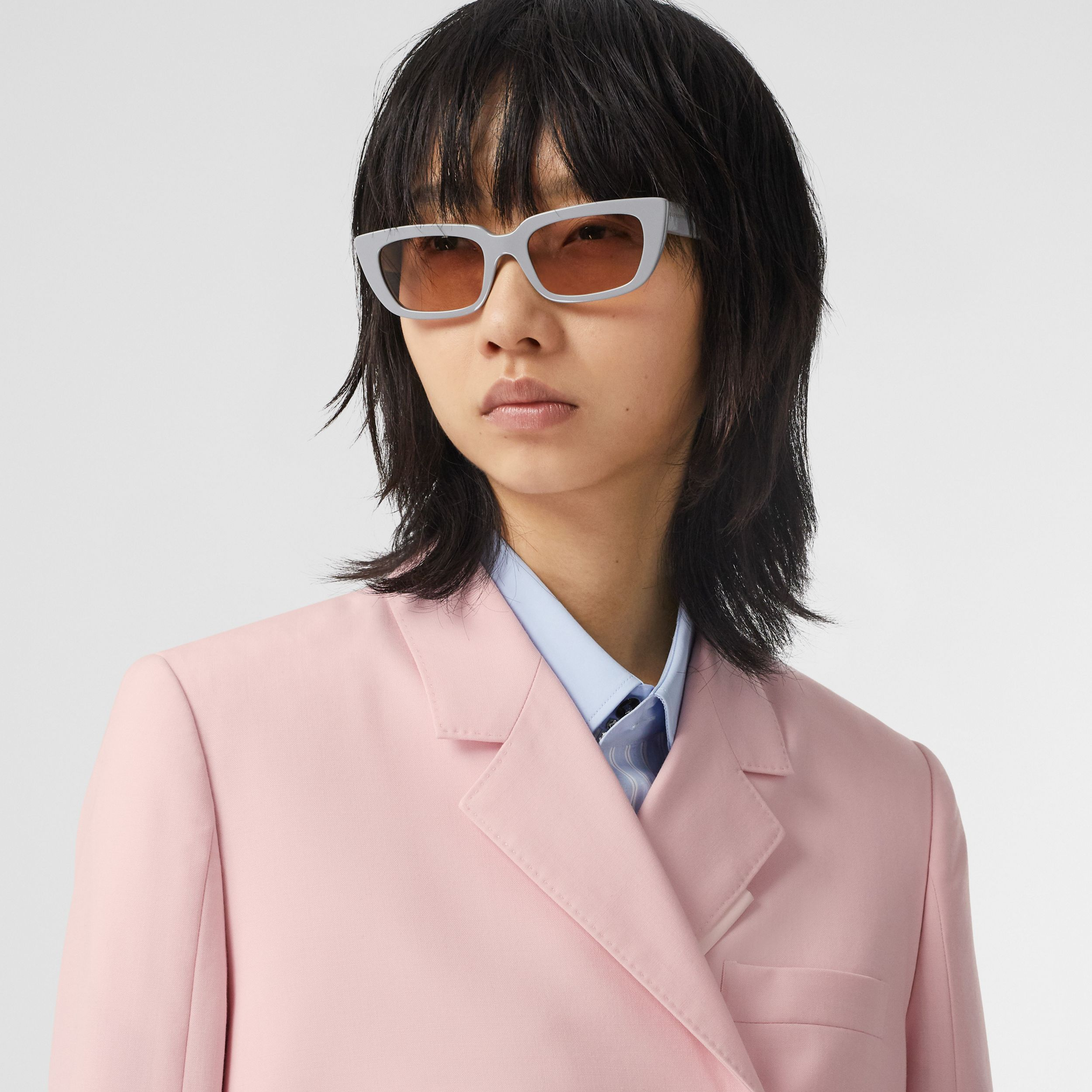 Tumbled Wool Double-breasted Blazer in Soft Pink | Burberry - 2