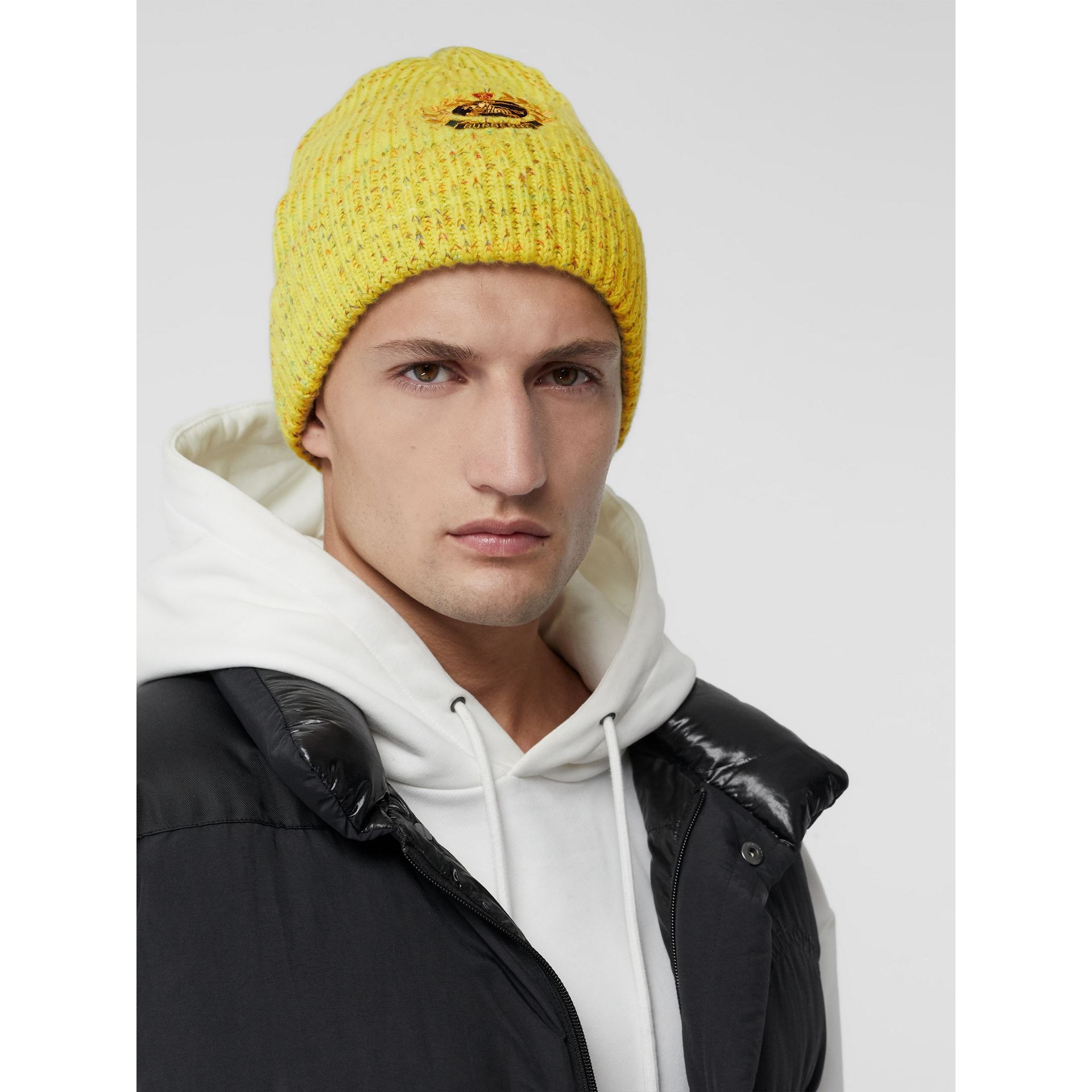 Embroidered Archive Logo Wool Blend Beanie in Gorse Yellow | Burberry United Kingdom - gallery image 3