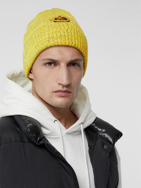 Embroidered Archive Logo Wool Blend Beanie in Gorse Yellow | Burberry - cell image 3