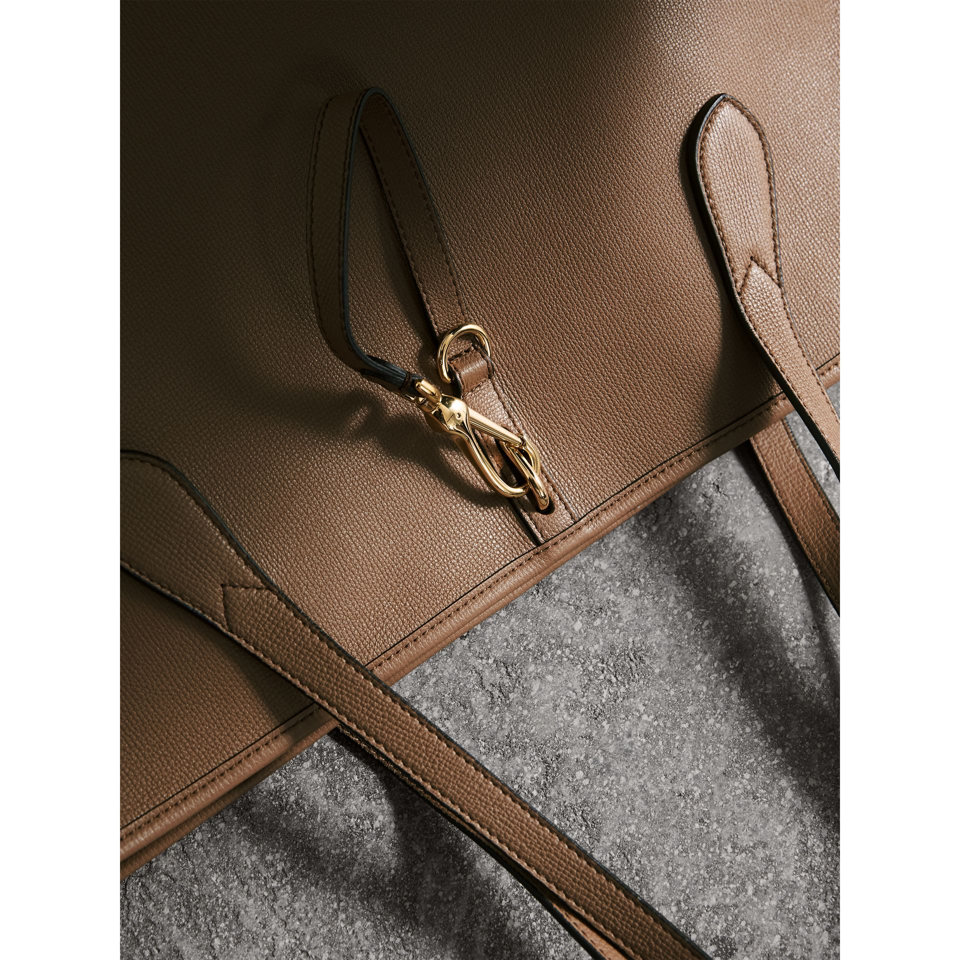 Medium Grainy Leather Tote Bag in Dark Sand - Women | Burberry Australia - gallery image 2
