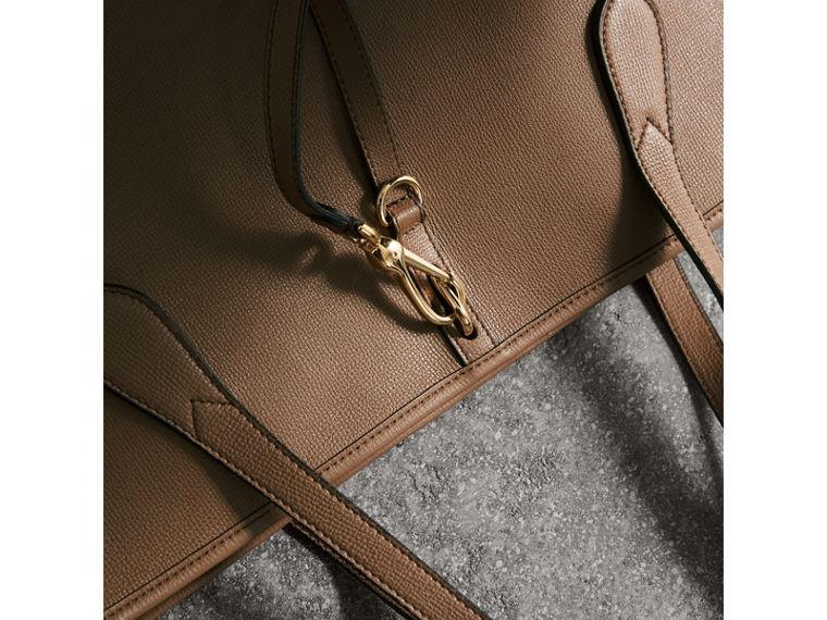 Medium Grainy Leather Tote Bag in Dark Sand - Women | Burberry - cell image 1