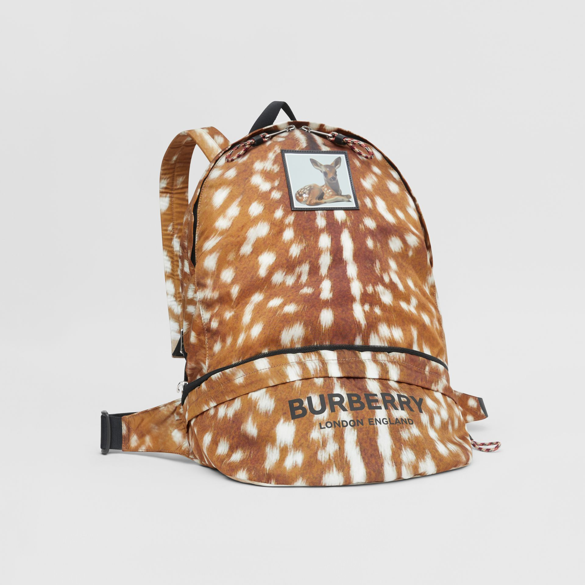 Deer Print Convertible Bum Bag in Tan/white | Burberry - gallery image 8